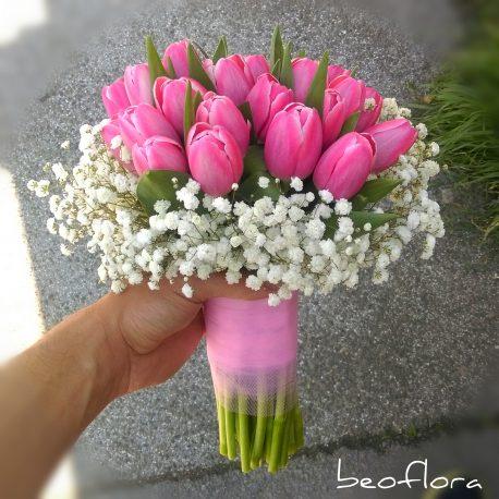 Bidermajer Beoflora roze lale 4
