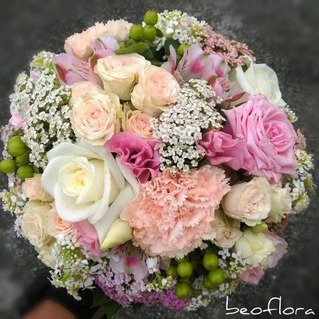 Bidermajer Beoflora mix svetlo roze ruza, karanfila, mini ruza