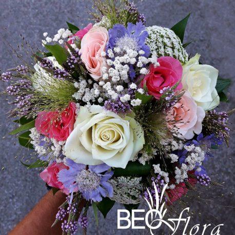 Bidermajer Beoflora roze, bele ruze mix poljsko cvece