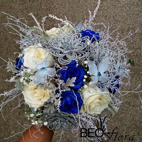 bidermajer beoflora plave i bele ruze