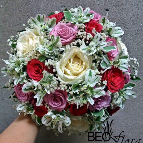 beoflora bidermajer roze, lila, bele ruze