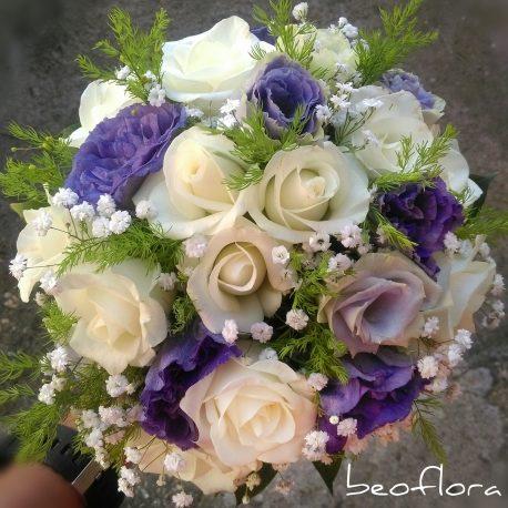 Bidermajer Beoflora mix bele ruze i lizijantus