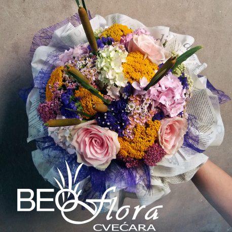 beoflora buket mix ruze poljsko cvece