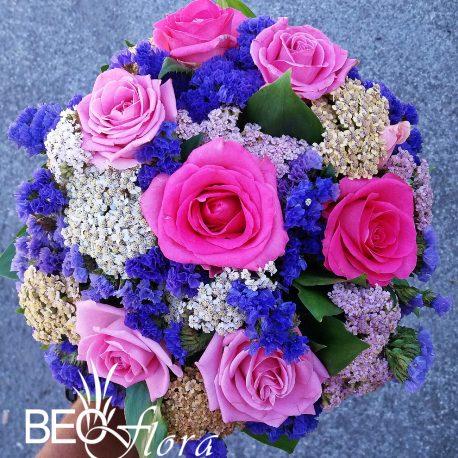 Beoflora bidermajer roze ruze, poljsko cvece