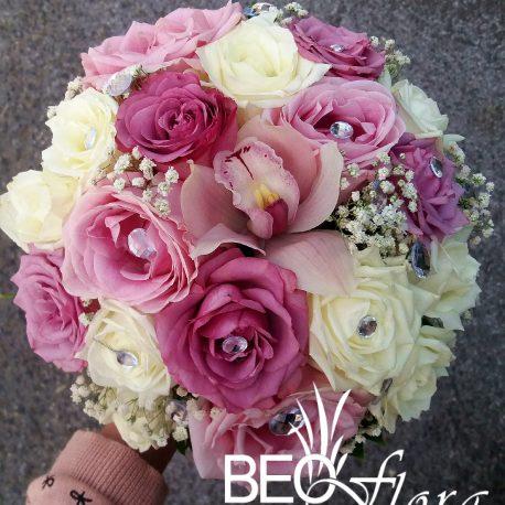 beoflora bidermajer roze orhideja, bele i roze ruze