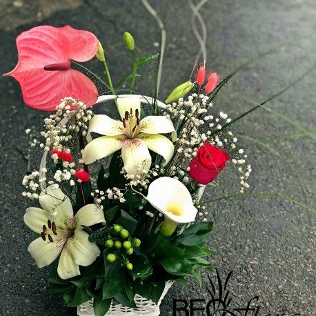 korpa beoflora anturijum, ljiljani, ruze