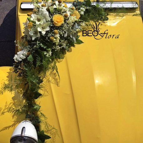 cvecara beoflora dekoracija automobila žute ruže